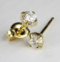 Studex Gold Earrings Tiny Tips Hypoallergenic 4mm Clear CZ ...