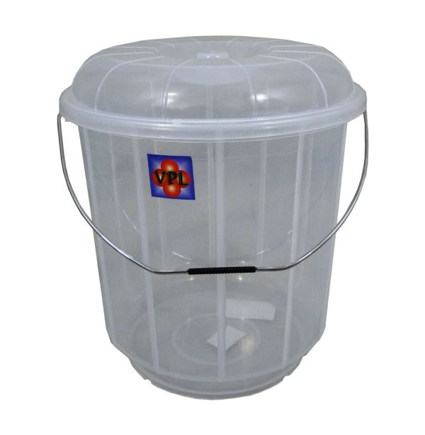 High Quality Clear Plastic Bucket Bin With Lid In 3 Sizes