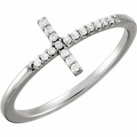 14K White Gold 17 Genuine Round White Diamond Sideways