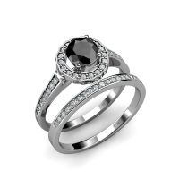 Black & White Diamond Halo Bridal Set Ring & Wedding Band