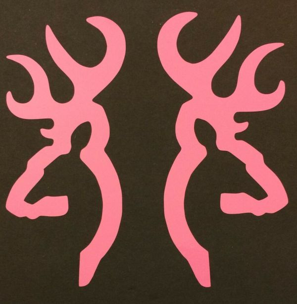 2 Pink Browning Deer Buck Doe Decal Sticker Logo