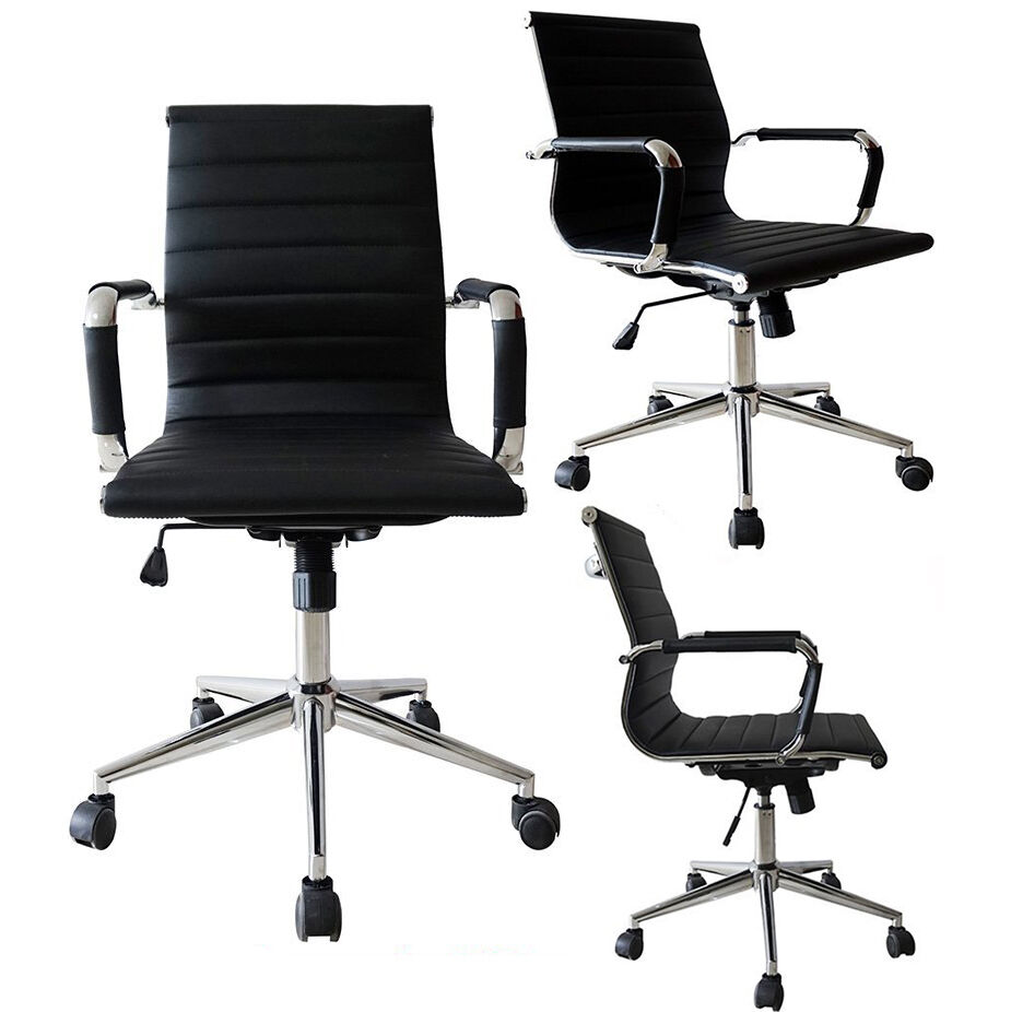BLACK Mid Back Ribbed PU Leather Office Chair Conference Room Tiltable Swivel  eBay