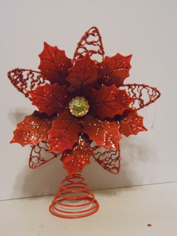 105 INCH METAL RED POINSETTIA TREE TOPPER CHRISTMAS