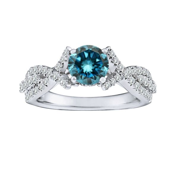 1 Carat Blue Diamond Solitaire Halo Fancy Bridal Ring 14k White Gold Asaar