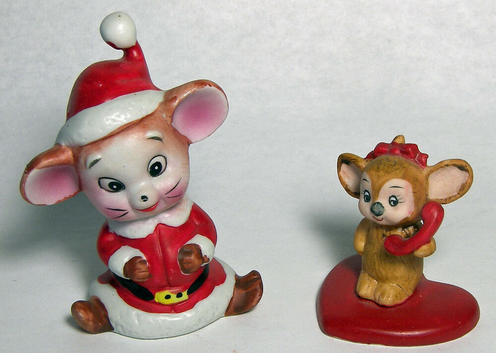2 Vintage MICE Lefton Mouse On Heart With Telephone