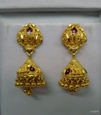 20kt vintage gold earrings filigree work gold earrings ...