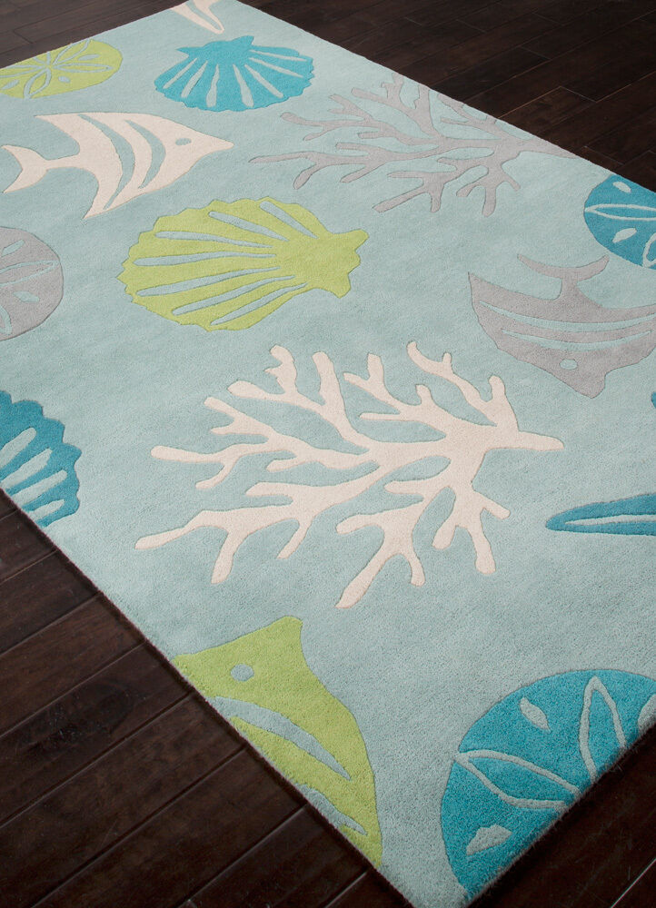 5x8 Designer Tropical Coastal Beach Shell Fish Blue Wool Area Rug  eBay