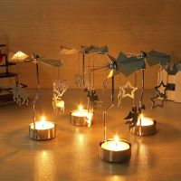Spinning Rotary Carousel Tea Light Candle Holder Stand