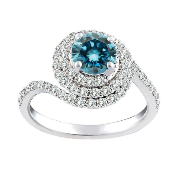 1.5 Carat Blue Si2 Diamond Solitaire Fancy Wedding Ring Set 14k White Gold