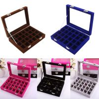 Velvet Glass Jewelry Earring Ring Display Organizer Box