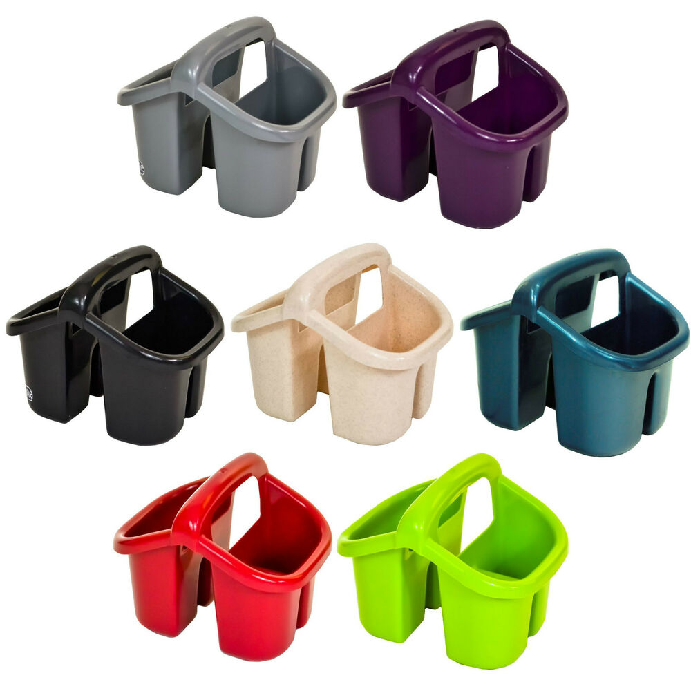kitchen utensil holders island countertops plastic 4 compartment sink tidy cutlery drainer filter ...