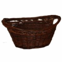 Large Wicker Dark Willow Basket Oval Storage & Handle for ...