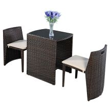 3 Pcs Cushioned Outdoor Wicker Patio Set Garden Lawn Sofa