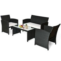 4 Pc Rattan Patio Furniture Set Garden Lawn Sofa Black