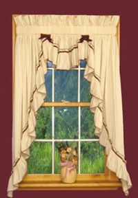 Primitive Jenny Country Ruffled 3 pc Swag Curtain Sets ...