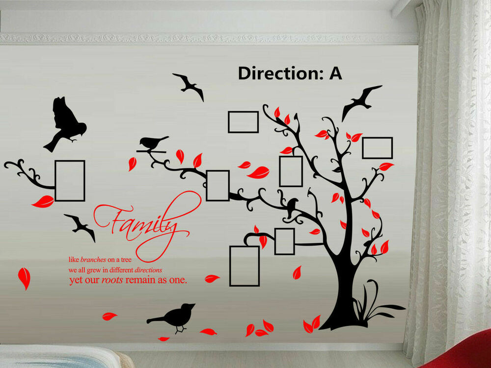 Large Family Tree Bird Photo Frame Vinyl Nursery Wall