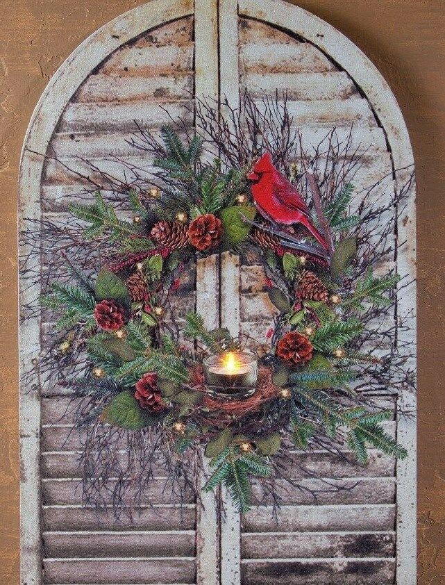 Shutter With Cardinal Amp Wreath Radiance Lighted Wall Art W