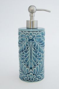CYNTHIA ROWLEY BLUE TURQUOISE WITH FLORAL CERAMIC BATHROOM ...