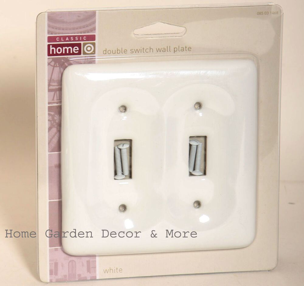 White Ceramic Porcelain Double Light Switch Wallplate Wall
