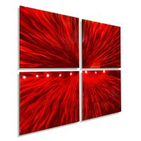 Red Modern Abstract Metal Wall Art Sculpture Contemporary ...