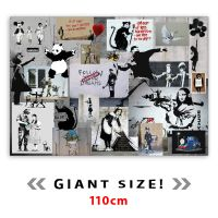 GIANT / HUGE Banksy Large Montage Collage Graffiti Canvas ...