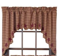 "Country Primitive Burgundy Star Scalloped Swags 36"" Rustic ..."