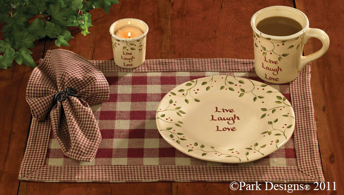 Country Primitive York Wine Placemat Rustic Burgundy Check
