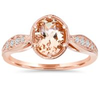 1ct Vintage Morganite & Diamond Ring 14K Rose Gold