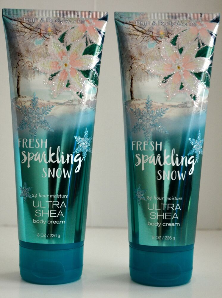 2 Bath Amp Body Works FRESH SPARKLING SNOW 24 HOUR MOISTURE ULTRA SHEA BODY CREAM EBay
