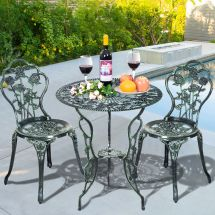 Patio Furniture Cast Aluminum Rose Design Bistro Set