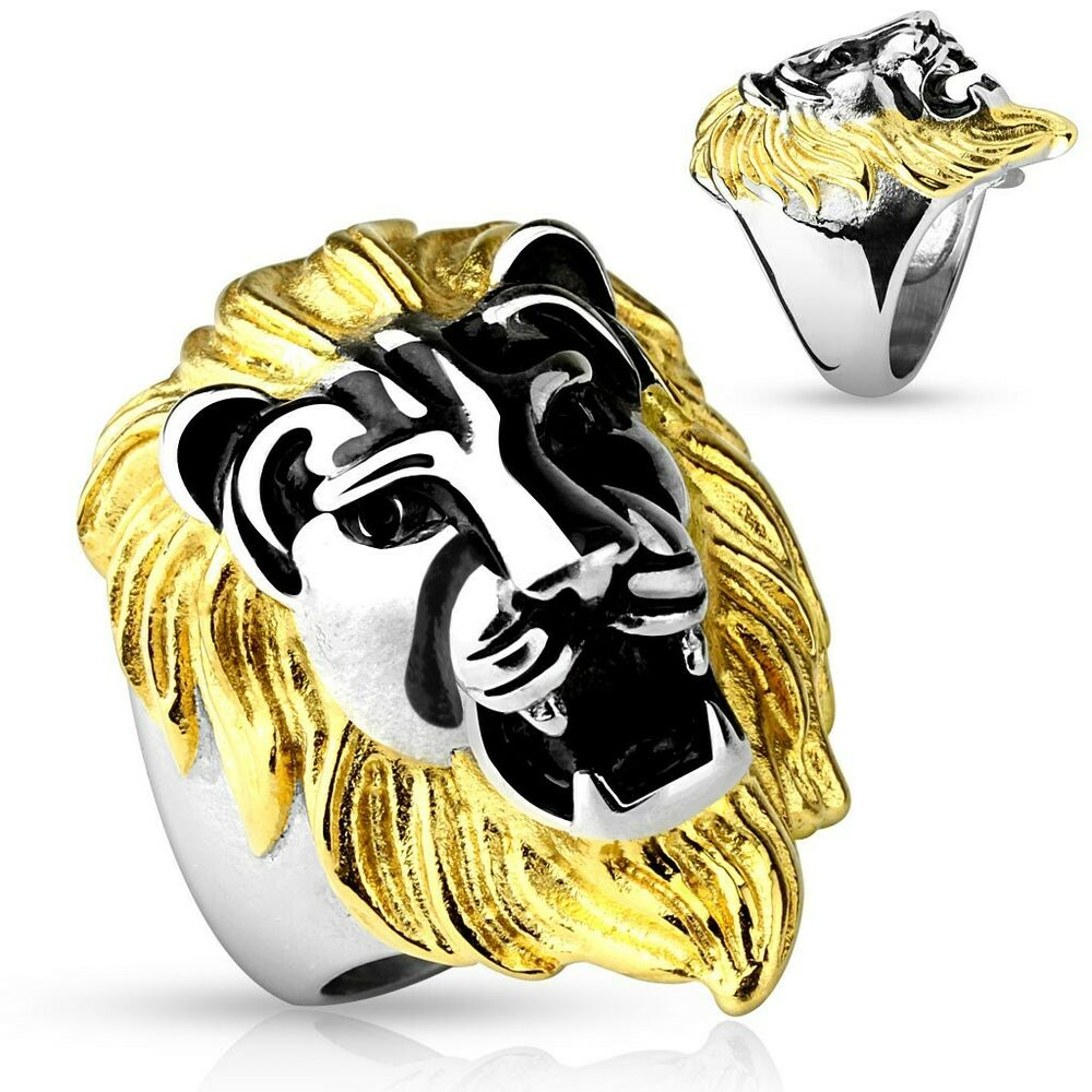 Stainless Steel Mens Gold Mane Lion Head Ring Size 914