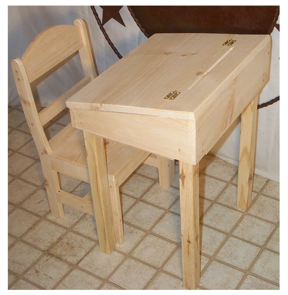 CHILDS DESK AND CHAIR WITH STORAGE  FLIP TOP UNFINISHED
