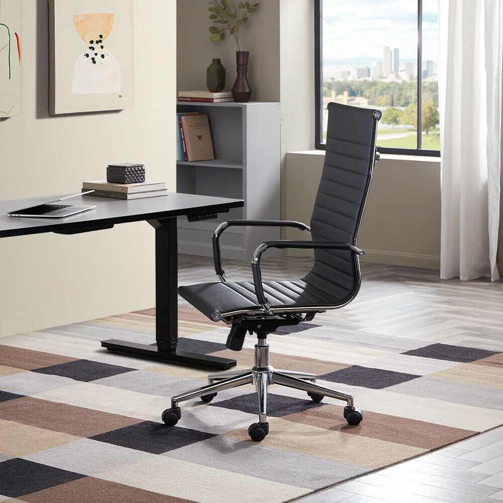 boss modern ergonomic office chair asian dining chairs high-back black ribbed upholstered pu leather executive desk | ebay