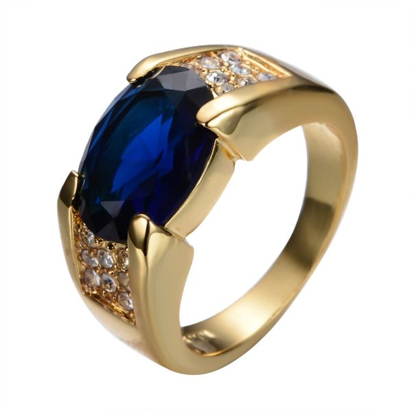 Size6-12 Blue Sapphire Big Stone Engagement Ring 10kt