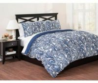 Blue Paisley Comforter Set King Size 3 Piece Bedding with