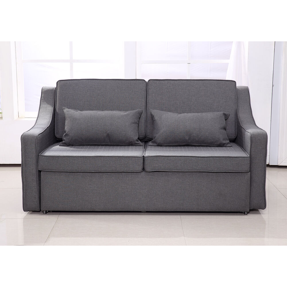 Sofa Bed Convertible Linen Lounge Sleeper Couch Adjustable Living Room Furniture  eBay