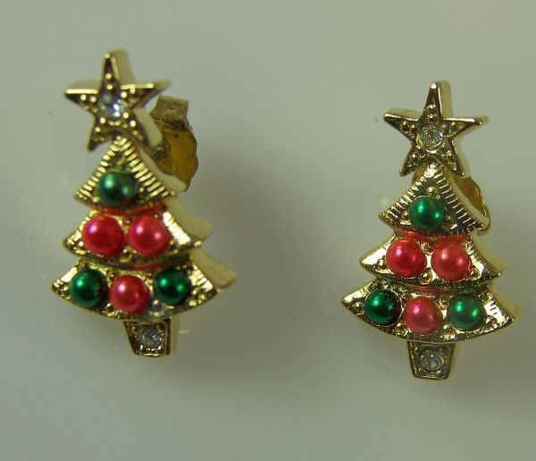 Avon CHRISTMAS TREE Pierced Earrings Goldtone with Red