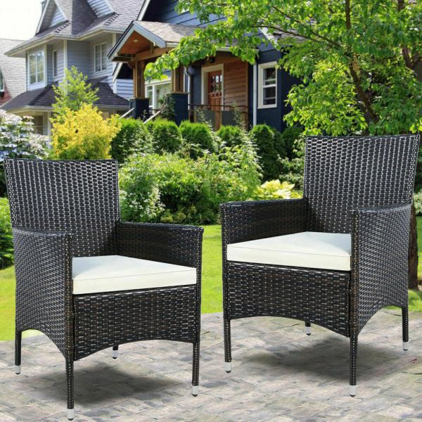 outdoor wicker furniture cushions for chairs GOPLUS 2PC Chairs Outdoor Patio Rattan Wicker Dining Arm