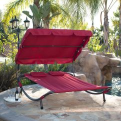 Low Back Camping Chairs Reading Chair World Market Outdoor Patio Double Wide Pool Hammock Bed Lounger With Sun Shade Burgundy | Ebay