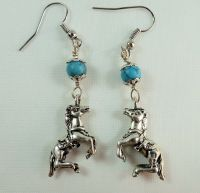 Cowgirl Earrings Dancing Lipizzaner Horse, Turquoise ...