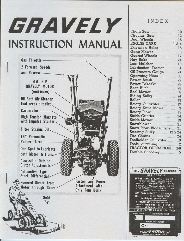 Gravely L Garden Tractor Instruction Manual 6.6 HP Motor