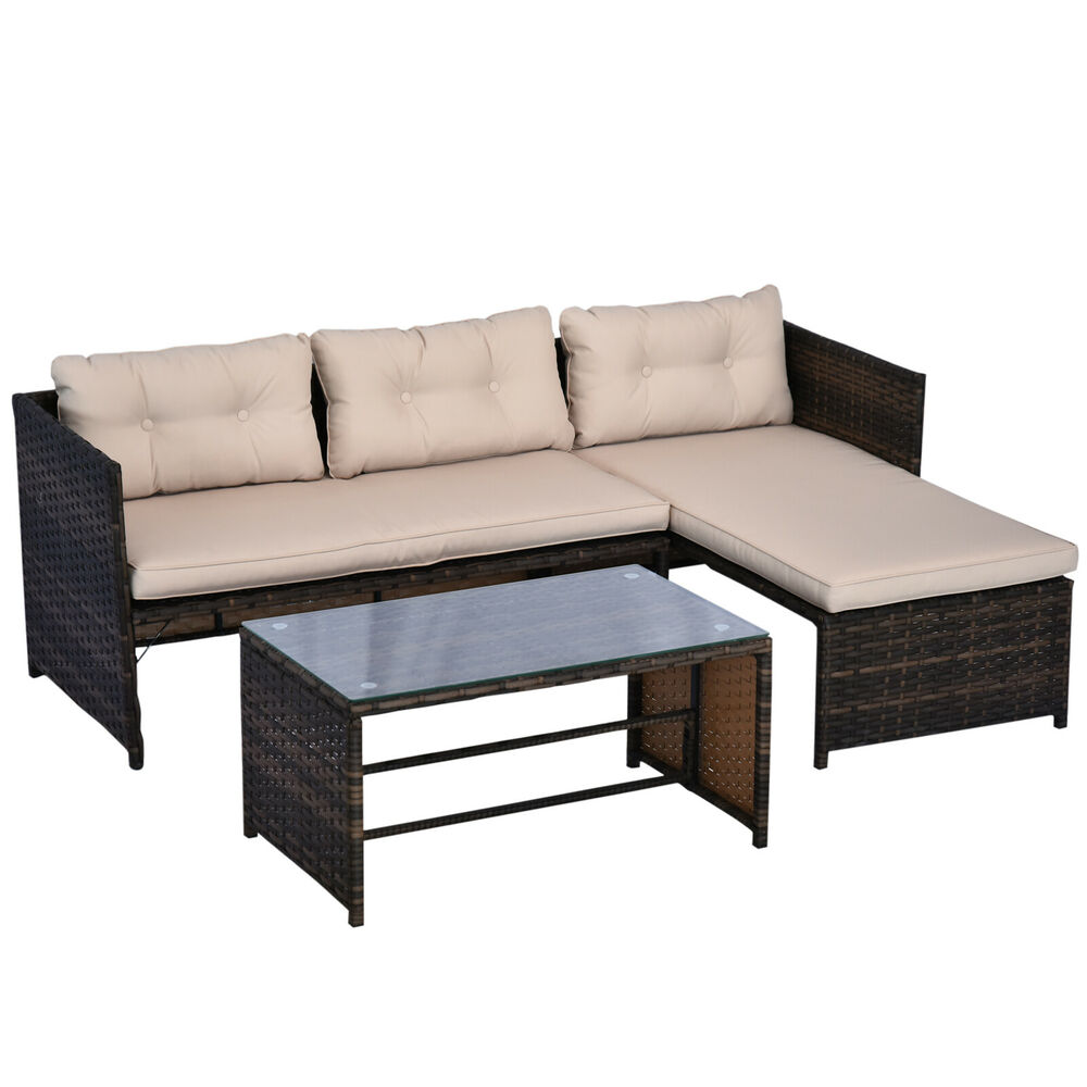3PC Patio Rattan Wicker Sofa Set Cushined Couch Furniture
