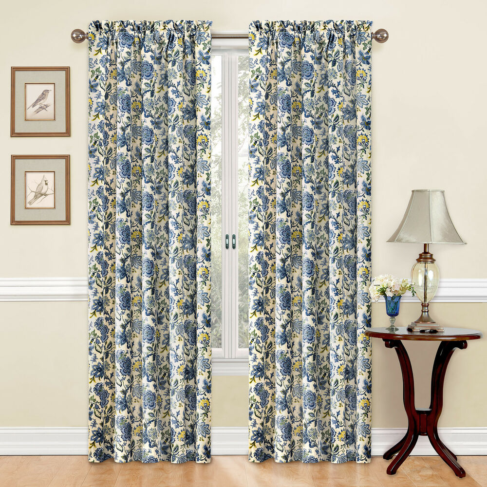 Traditions by Waverly Navarra Floral Curtain Panel  eBay