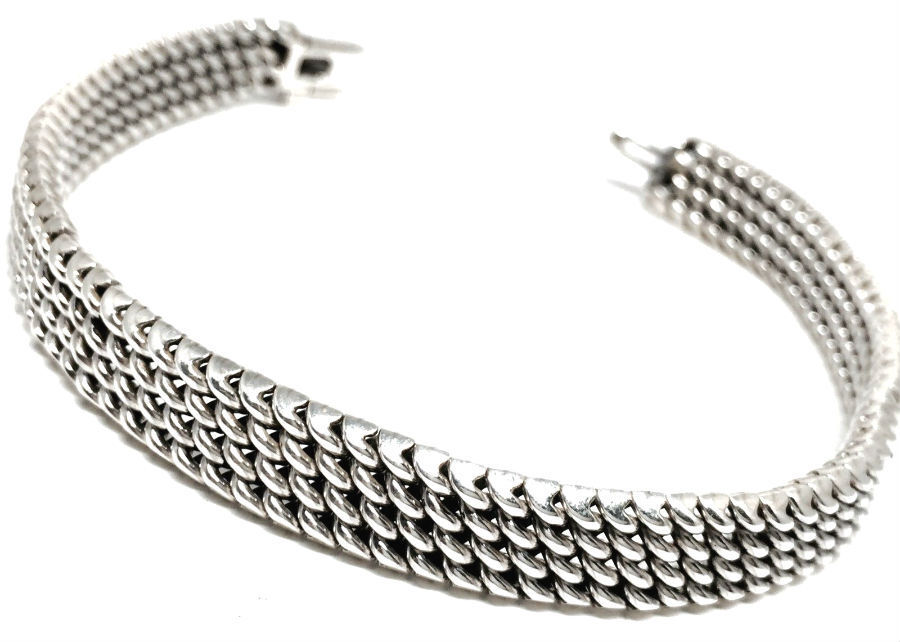 TAXCO MEXICAN 925 STERLING SILVER ELEGANT WOVEN CHAIN