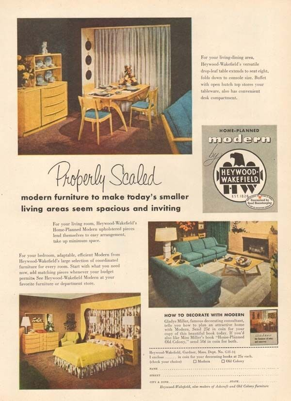 retro dining room table and chairs office chair penang 1950s vintage heywood wakefield modern scaled furniture ad | ebay