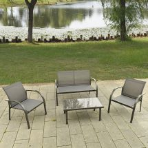4pcs Patio Garden Furniture Set Steel Frame Outdoor Lawn