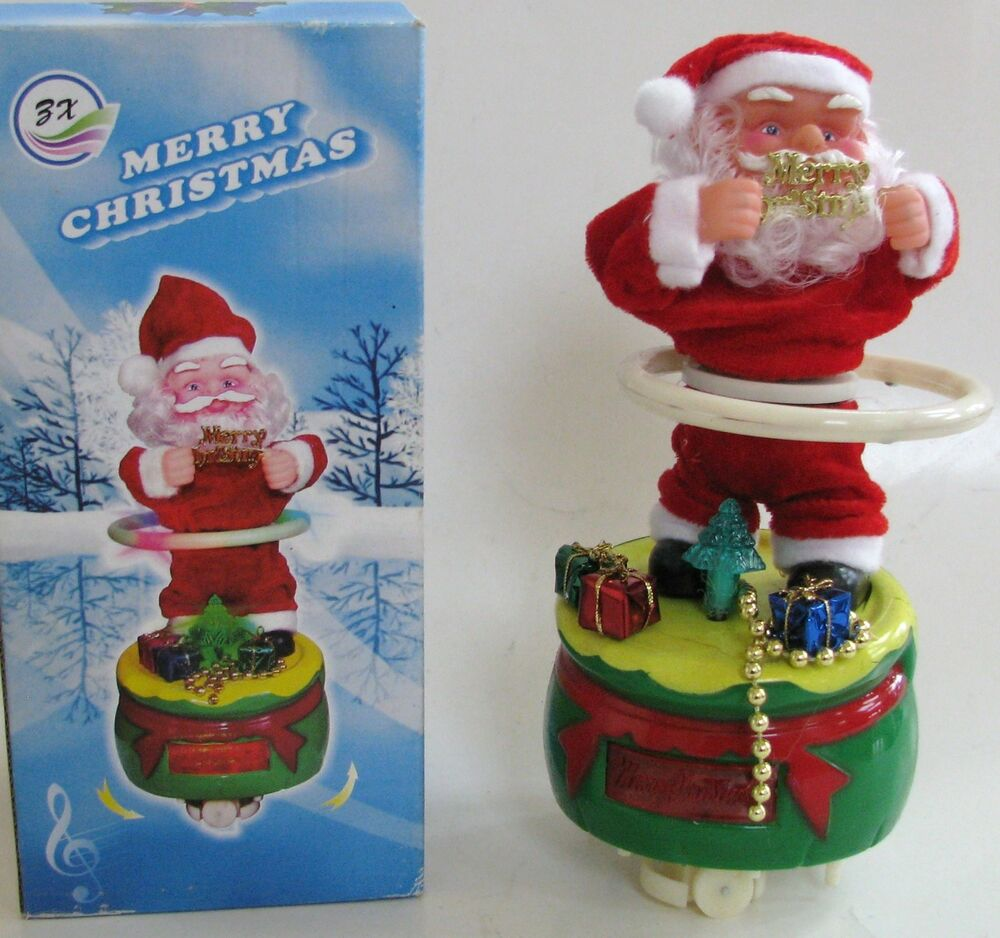 NEW HULAHOOPINGSPINNING SANTA CLAUS MUSICAL MERRY