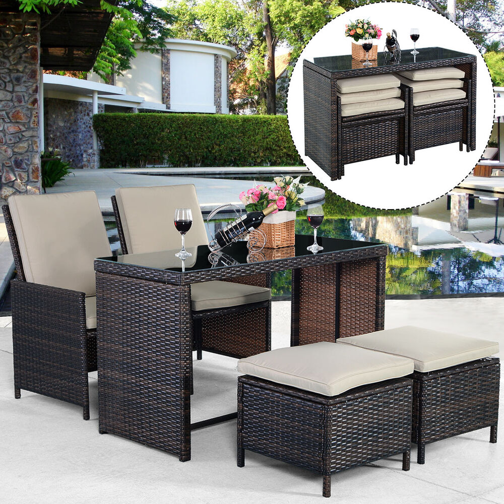 New 5PCS Brown Cushioned Ottoman Rattan Patio Set Outdoor - Outdoor Furniture