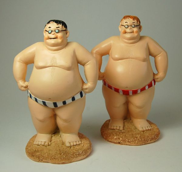 Fat Swimmer Bloke Man Figurine Ornament 16 Cm