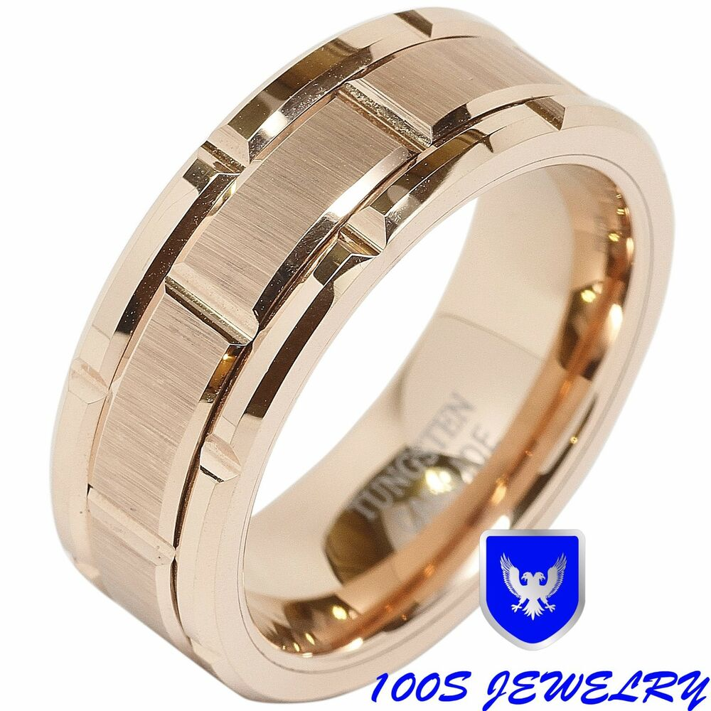 8mm Mens Tungsten Carbide Ring Wedding Band Rose Gold